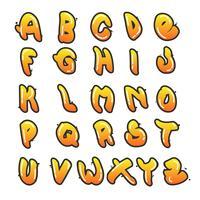 Coleção de alfabeto de Graffiti plana vetor