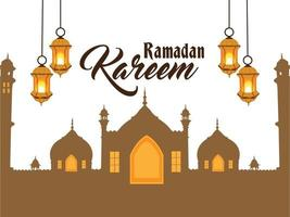 fundo ramadan kareem com lanterna dourada vetor