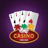 ilustração vetorial de jogos de azar de cassino com cartas e fichas criativas vetor