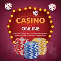 fichas coloridas e dados de pôquer de casino online vetor