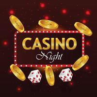 texto de casino dourado com cartas de jogar e moedas de ouro vetor