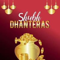 dhanteras felizes, cartão comemorativo do festival indiano de diwali feliz com pote de moedas de ouro vetor