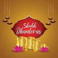 Design de cartão shubh dhanteras com pote de moeda dourada com flor de lótus vetor