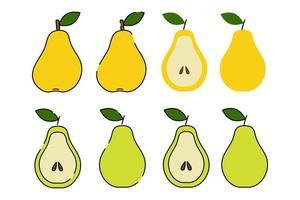 pêra verde e amarelo. estilo simples dos desenhos animados. Isolado em um fundo branco. ilustração vetorial. frutas fatiadas com sementes. vetor