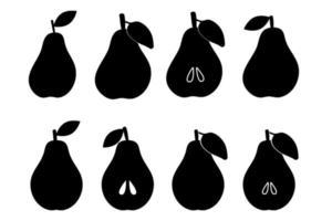 silhueta de uma pêra. elemento de fruta simples minimalista. peras fatiadas com sementes. Isolado em um fundo branco. ilustração vetorial. vetor