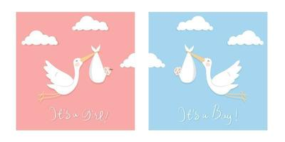 ilustração plana das cegonhas carregando bebê. bom para usar para cartão de chuveiro de bebê ou arte de parede de berçário. vetor