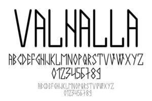 escrita escandinava, em letras maiúsculas no estilo das runas nórdicas. design moderno vetor