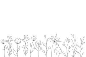 silhuetas negras de grama, flores e ervas. elementos florais simples minimalistas. botânico natural. esboço gráfico. flores desenhadas à mão. design para redes sociais. contorno, linha, estilo do doodle. vetor