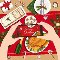 ceia de Natal. deliciosa refeição tradicional de feriado, chapeamento festivo. mãos com smartphone tirando foto de comida. vetor