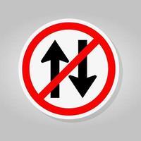 Proibir o sinal de trânsito nos dois sentidos isolado no fundo branco, ilustração vetorial vetor