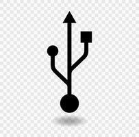 ícone de USB isolado em fundo transparente, ilustração vetorial vetor