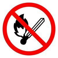 nenhum sinal de símbolo de ignição de fogo isola-se no fundo branco, ilustração vetorial eps.10 vetor