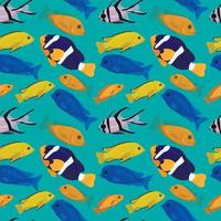 fundo sem emenda com peixes tropicais. design de animais subaquáticos. ilustração dos desenhos animados bonitos dos peixes do recife de coral. impressão marinha brilhante. papel de parede do mar profundo