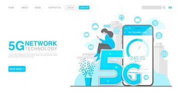Conceito de tecnologia sem fio de rede 5g. página de destino em estilo simples. vetor eps 10