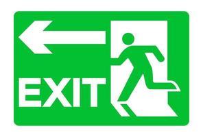 sinal verde de saída de emergência isolado no fundo branco, ilustração vetorial eps.10 vetor