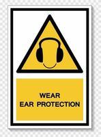 símbolo de desgaste sinal de proteção de ouvido isolado no fundo branco, ilustração vetorial eps.10 vetor