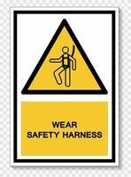 usar sinal de símbolo de arnês de segurança isolado em fundo branco, ilustração vetorial eps.10 vetor
