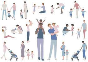 famílias felizes com crianças, conjunto de ilustração vetorial. ilustração fácil de usar isolada no fundo branco. vetor