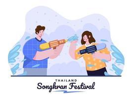 pessoa comemorar o festival de songkran da Tailândia com água espirrando uns nos outros com pistola d'água tradição do festival da água da Tailândia. ilustração dos desenhos animados do festival songkran. adequado para banner, pôster, etc. vetor