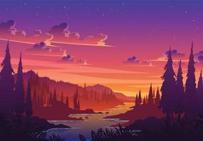 ilustração da paisagem do vale do pôr do sol vetor
