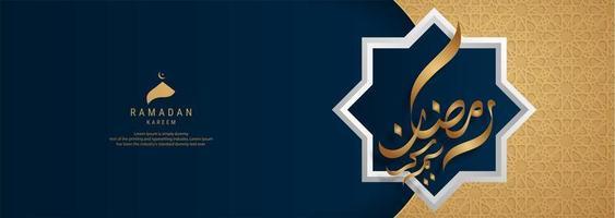 banner dourado e preto de caligrafia ramadan kareem vetor