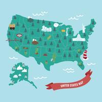 Mapa colorido dos Estados Unidos vetor