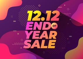 12.12 banner de venda de fim de ano. design de modelo de banner de venda. vetor
