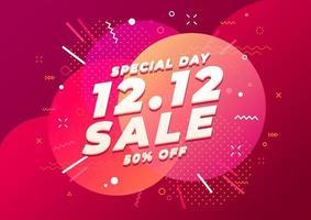 12,12 modelo de banner de venda de dia de compras especial. venda de fim de ano. vetor