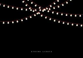 luzes de corda ao ar livre isoladas em fundo preto. vetor
