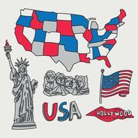 Mapa dos EUA e elementos vetor