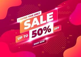 design de modelo de banner de venda, venda por tempo limitado apenas com até 50% de desconto. banner de desconto de promoção de oferta especial.