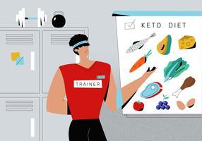 Dieta cetogênica de comida saudável explicar pela ilustração de vetor de treinador pessoal