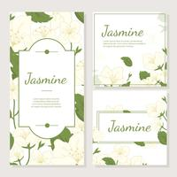 Cartão de convite com vetor de flor de jasmim