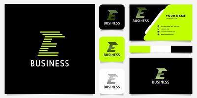 seta verde brilhante linhas arredondadas letra e logotipo em fundo preto com modelo de cartão de visita vetor