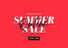 modelo de banner de venda online de verão sobre fundo vermelho. vetor