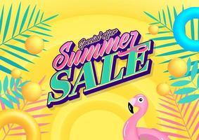 banner de venda de verão em estilo moderno com folhas tropicais para promoção. vetor