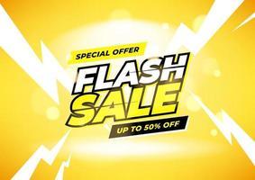 oferta especial de venda flash com até 50% de desconto no banner vetor
