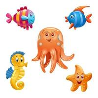 peixes do vetor em um fundo branco. personagens de desenhos animados de peixes. peixes isolados em um fundo branco. peixes do mar. ilustração vetorial