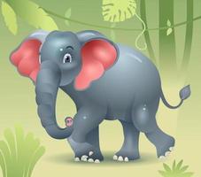 elefante andando na selva. elefante bebê à procura da mãe. elefante anda. ilustração vetorial vetor
