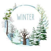 cartão sazonal de árvores com neve no inverno vetor