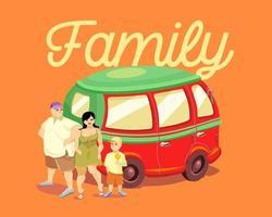 uma família com uma criança está perto de um carro vermelho. a família de inscrição. letras. ilustração vetorial vetor