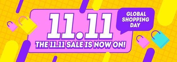11,11 faixa amarela do dia de compras, dia mundial de compras global. folheto de venda do dia de solteiros. vetor