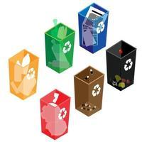 vidro, plástico, pilhas, papel, resíduos orgânicos. vetor