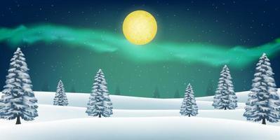 noite inverno neve floresta colina com aurora no céu vetor