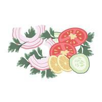 conjunto de cebolas cortadas, tomates e limões vetor