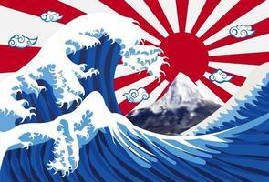 onda do mar com monte fuji e bandeira do japão vetor