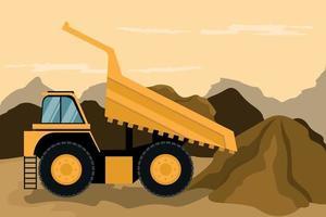 caminhão de mineração fazendo construção e mineração. maquinário pesado. vetor