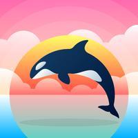 Orca assassina baleia ilustração plana vetor