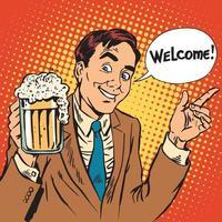 homem, bem-vindo ao restaurante de cerveja vetor