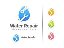 modelo de design de logotipo de reparo de água vetor